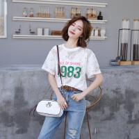 2018夏季短袖T恤女新款韩版镂空个性字母蕾丝雪纺衫 女短袖打底衫 图片色 均码