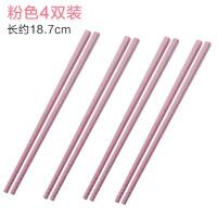 家用筷子日式餐具创意环保麦秸秆防霉防滑长快子家庭装4双套装