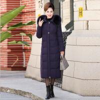中老年棉衣女中长款40岁50妈妈冬装外套中年女过膝老年人棉袄 XL 参考95-115斤