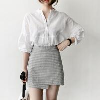 白色衬衫女夏季2018新款韩范灯笼七分袖衬衣宽松立领职业正装上衣 白色 拍下送吊带