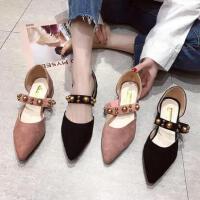 百搭潮款新款韩版女单鞋浅口尖头平底鞋珍珠一字扣包头软底女鞋子