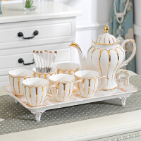 欧式茶具套装家用带托盘英式下午茶陶瓷杯子茶杯水杯奢华结婚礼物 白 鎏金女王(6杯1壶1托)礼盒 8件