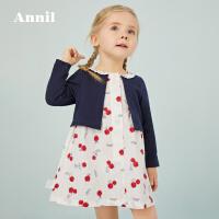 【2件5折:149.5】安奈儿童装女小童长袖连衣裙2020春装新款宝宝假两件淑女公主裙子