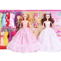 笆比公主套装 八比女孩生日礼物3d笆比长发洋娃娃单个套装公主梦幻芭比大礼盒 粉 9db芭比