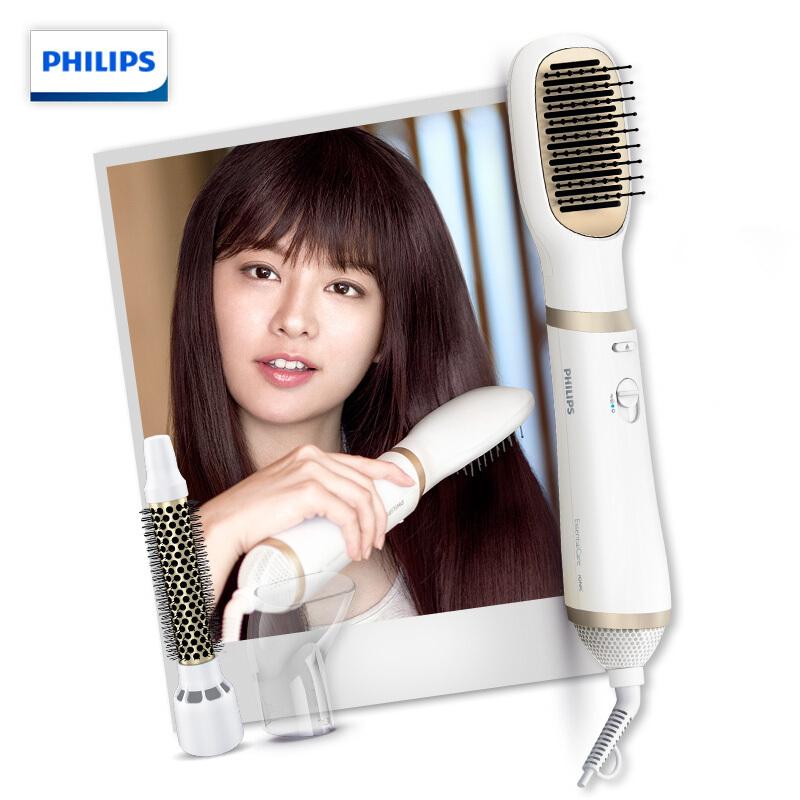 飞利浦(Philips) 美发器 负离子造型器 HP8663 直发器 卷发棒 多功能电吹风机 干湿两用 吹梳三合一吹风造型梳,恒温护发,冷风定型