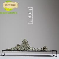新中式枯山水禅意摆件 日式创意客厅陶瓷假山太湖石沙盘微景观SN9063
