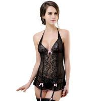 欧美情趣内衣性感蕾丝透明睡衣网纱紧身镂空含吊袜带睡裙 黑色 M