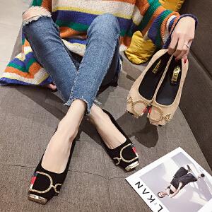 新款女春浅口圆头平底休闲女鞋单鞋金属扣装饰时装豆豆鞋