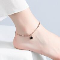 银脚链女森系玫瑰金铃铛古风脚链简约气质银饰品