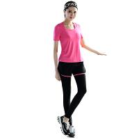 瑜伽服女套装四件套春夏新款健身服跑步跳操短袖含胸垫多色有大码
