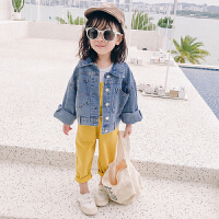 女童牛仔外套春装2019新款牛仔褂韩版儿童短款洋气牛仔衣潮童装 牛仔蓝 收藏加购优先发货 衣标5(建议身高90)