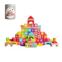 木玩世家积木玩具儿童益智1岁男孩女孩宝宝大颗粒木质拼装木头
