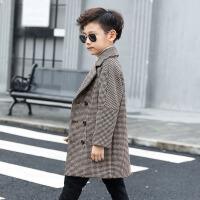 2019新款春秋男童格子呢大衣儿童毛呢外套中大童风衣中长款加厚 咖啡色 加厚