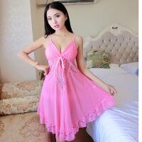 女薄款性感睡衣情趣内衣诱惑秋季修身吊带睡裙中裙 粉红色 160(M) 1层