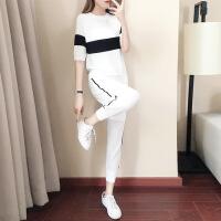 欧美女装韩版宽松短袖冰丝女士运动服休闲套装女夏季潮两件套2019新款