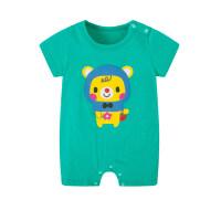 2018新生儿0女儿童婴幼儿连体衣3小少爷6个月爬爬衣潮男宝宝夏装