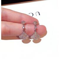 新款时尚韩国银针耳环精致超闪镶水钻气质百搭耳钉耳坠女