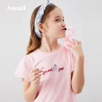 【活动价:84.5】安奈儿童装女T恤2020夏季新款亮片网布泡泡袖公主款短袖T恤