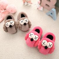 儿童棉拖鞋厚底防滑保暖宝宝棉拖包跟可爱室内软底冬季拖鞋1-3岁