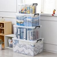 加厚特大�透明塑料收�{箱衣物被子玩具��本透明有�w整理�ξ锵� �h�Z威高透明