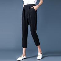 时尚品牌夏季新款大码女装松紧腰哈伦裤子百搭黑色八分小脚休闲裤SN0662 黑色