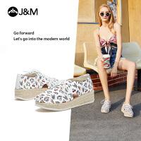 jm快乐玛丽春夏季新款潮涂鸦坡跟系带帆布鞋厚底时尚休闲女鞋子