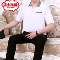 夏季新款中老年男装POLO衫短袖长裤休闲运动套装时尚爸爸装两件套