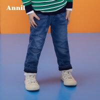 【3件3折:89.7】安奈儿童装男童小童加绒牛仔夹裤冬装新款厚