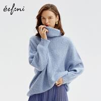 伊芙丽毛衣女新款冬装韩版针织衫高领宽松套头慵懒风羊绒衫女