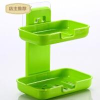 卫生间创意强力无痕粘贴肥皂盒 沥水盒香皂架双层浴室壁挂香皂盒SN3660 麦芽 绿