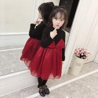 2018新款洋气女童公主裙冬红色连衣裙加绒儿童新年装礼服裙子潮