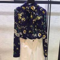 新款优雅修身女衬衫2018新款秋装国内代购时尚印花长袖雪纺衬衫上衣 花色
