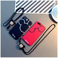 新款迪士尼苹果7plus手机壳iphoneX保护套挂绳8P卡通情侣6s全包软 7Plus或8plus(imd红色款)