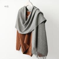 新品py纯色羊毛流苏围巾韩版百搭冬季长款围脖披肩两用冬天保暖
