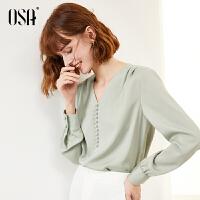 【超品叠券预估价:121】欧莎绿色V领雪纺衫长袖女士小衫2020年新款春季时尚洋气气质上衣