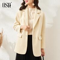 【3折折后价:189元】OSA欧莎高端气质毛呢外套女春秋季2021新款中长款小个子显瘦呢子大衣