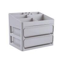 抽屉式化妆品收纳盒梳妆台置物架桌面收纳整理盒塑料化妆盒 灰色