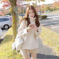 女款秋冬装韩版宽松加厚长袖白色中长款高领套头毛衣女针织打底衫