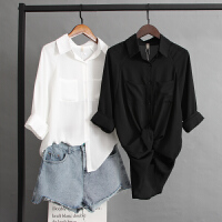雪纺衫女夏薄长袖设计感衬衣韩版心机衬衫宽松上衣学生百搭防晒衣 黑色 图片中的黑色