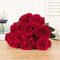 玫瑰花枝 浪漫情人 结婚假的花束仿真单支胶花居家美容院现代简约