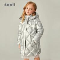 【2件4折�A估券后�r:382元】安奈�号�童羽�q服中�L款2020冬新款�W�t童�b正品牌女����保暖外套