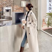 高� 量毛呢大衣女中�L款2020新款冬季加厚�^膝小��子赫本�L收腰呢子外套