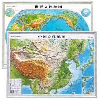 3D凹凸立体中国地形图+世界地形图(套装共两册)4开桌面悬挂两用学生教学用具 金博优