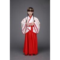 儿童古装汉服 女童民族风舞蹈演出服装 大童中国风仙女裙小孩衣服 花色 送眉心贴 发簪