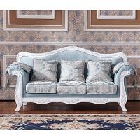 布艺欧式沙发简欧小户型可拆洗双人三人田园实木沙发家具123组合 如图色