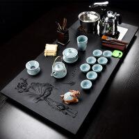整套乌金石四合一茶盘家用石头石材功夫茶具套装简约大号茶台茶海