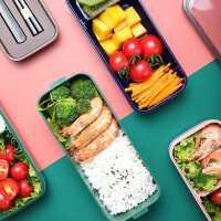 寸年双层饭盒上班族可微波炉加热便当盒分隔型日式健身减脂餐盒轻食