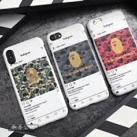 迷彩潮男ins网红手机壳xbape7保护套6p软硅胶防摔iphone8plus 苹果6/6s 金迷彩绿