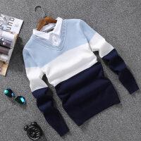 毛衣男韩版秋季假两件衬衫领针织衫潮流修身薄长袖V领套头打底衫