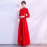 红色敬酒服新娘中式婚纱礼服长款秀禾服2018新款夏季结婚旗袍嫁衣